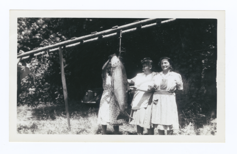 Three  Women, the Cooks, from the Camp-Meeting with a Very Large Fish, Puget Sound, Washington