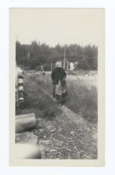 Hoh River Woman, over 100 years of Age and Nearly Blind, on a Trail