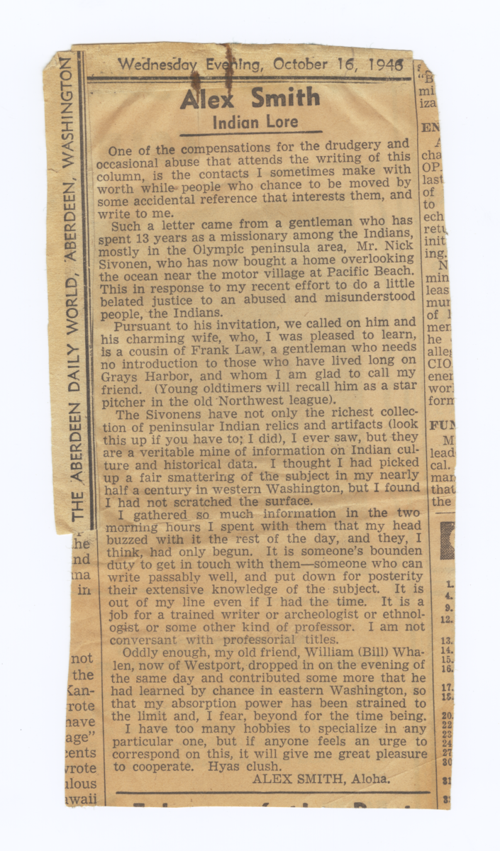 "Newspaper Column: ""Alex Smith – Indian Lore."" From The Aberdeen Daily World, October 16, 1946"