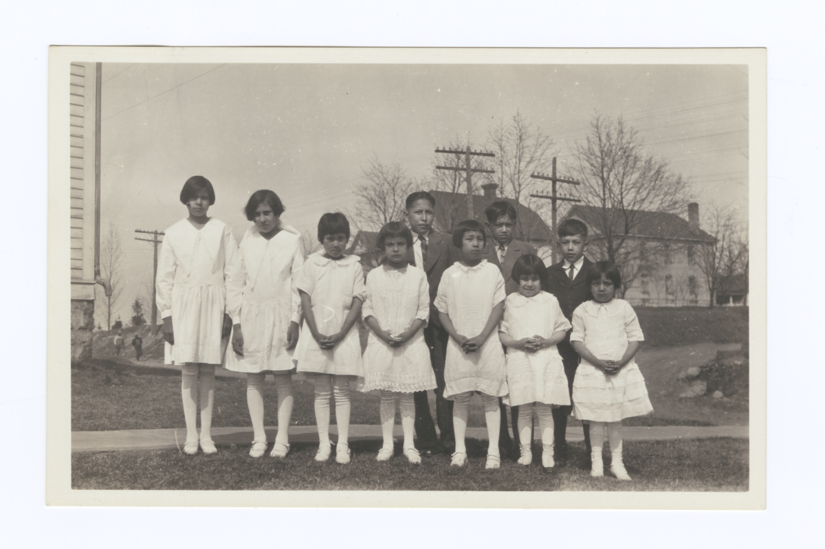 American Indian Girls in White Dresses, Boys in Suits and Ties