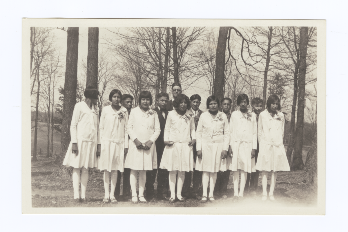 Young Girls and Boys in Formal Attire Posing with an Adult, Wittenberg, Wisconsin