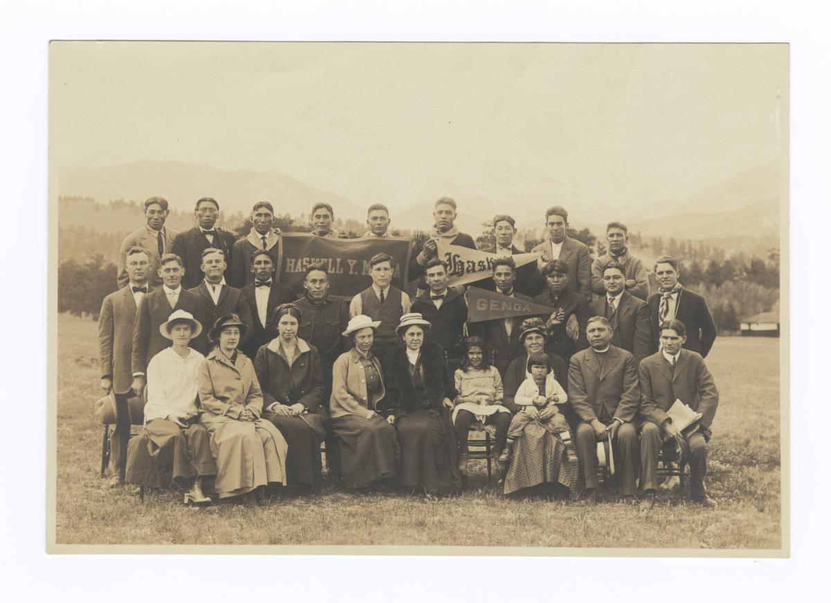 Group of Men and Women with Haskell and Genoa Y.M.C.A. Pendants