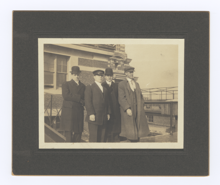 G.E.E. Lindquist with R.D. Hall, Henry Roe Cloud and an Unidentified Man in New York
