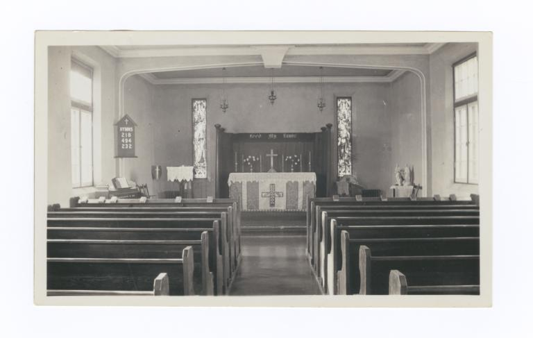 Interior of Anglican Chapel at Gordon Residential School, Saskatchewan