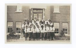 Female Students in front of Gordon Residential School, Saskatchewan