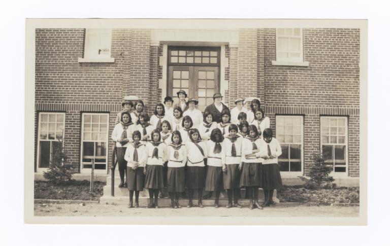Female Students in front of Gordon Residential School, Saskatchewan