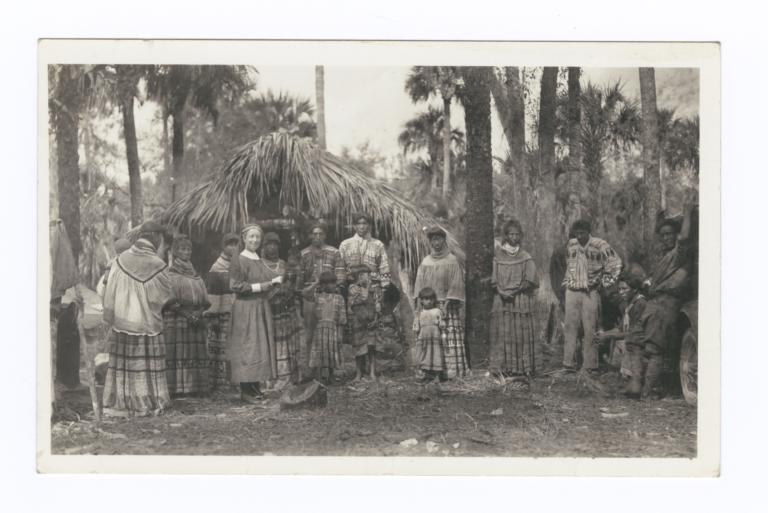 Group of Seminole Indians with a Nun, Everglades, Florida