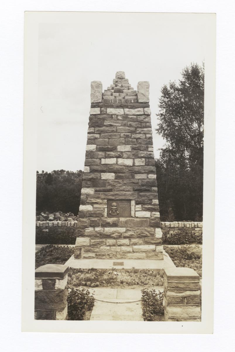 Front View of the Chieftain's Memorial Showing Dedication Plaque, Ute Park, Ignacio, Colorado