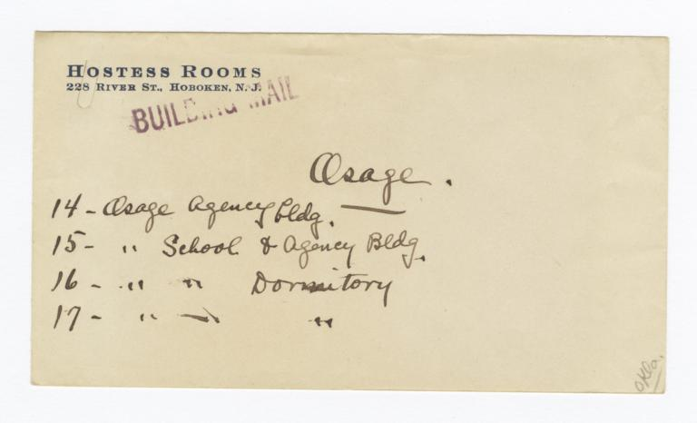 Envelope for Photos (1069) and Negative (1070) of Osage Agency, Pawhuska, Oklahoma