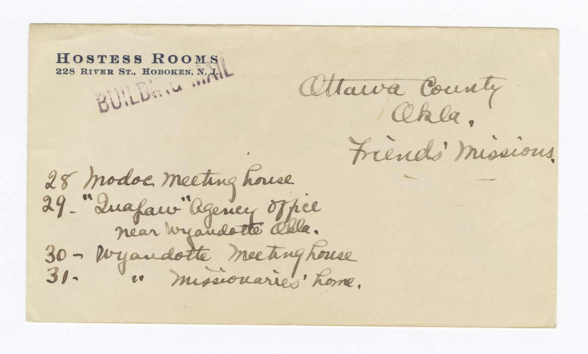 Envelope for Negative (1078) of Quapaw Agency Office