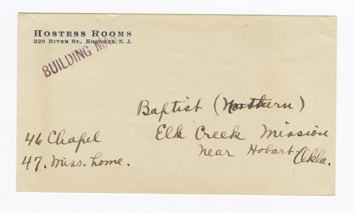 Envelope for Photos (1092, 1094) and Negative (1093) of Elk Creek Mission, Hobart, Oklahoma