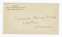 Envelope for Photos (1105 and 1107) and Negative (1106) of Comance Mission, Lawton, Oklahoma