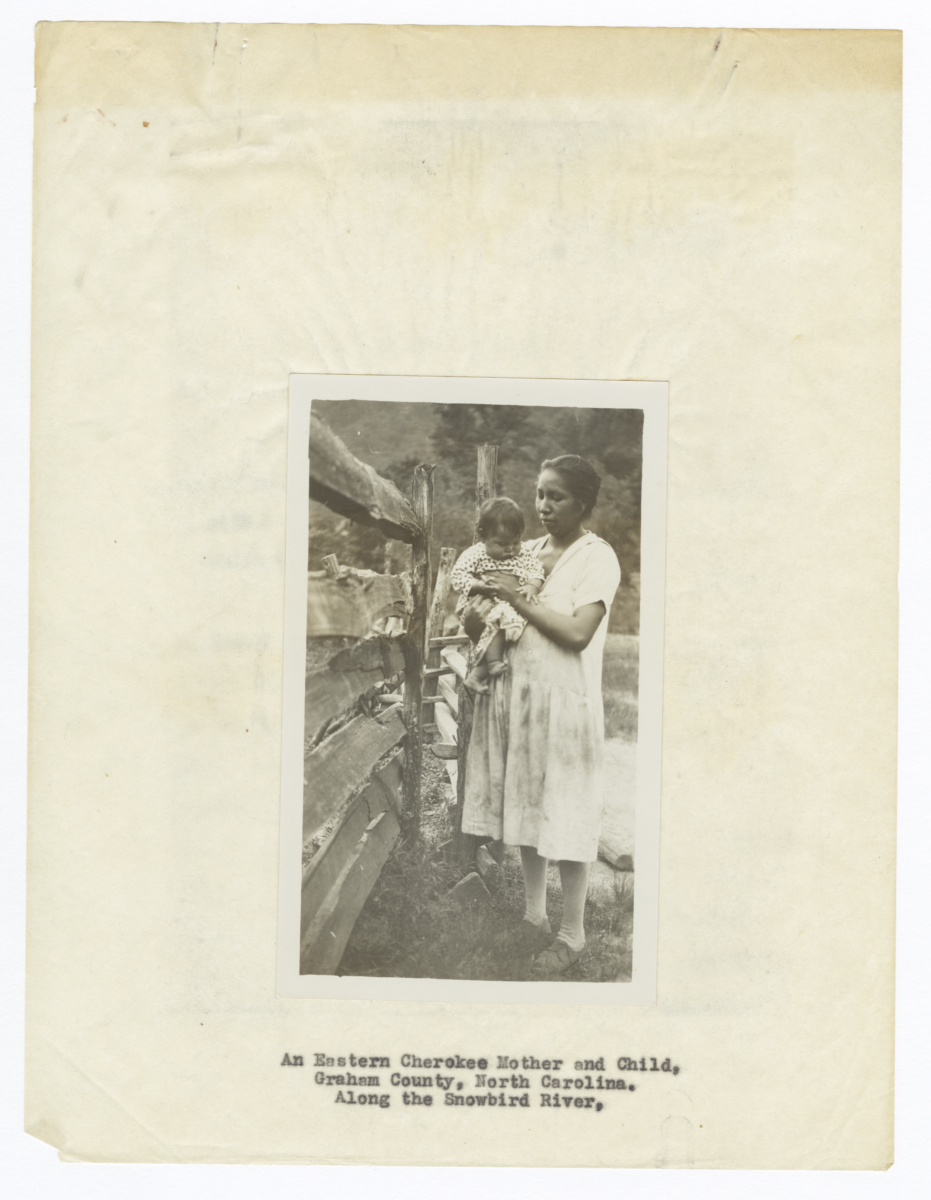 Eastern Cherokee Mother and Child along the Snowbird River, Graham County, North Carolina
