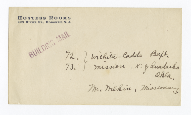 Envelope for Photo (1279) and Negative (1280) of Caddo Baptist Mission