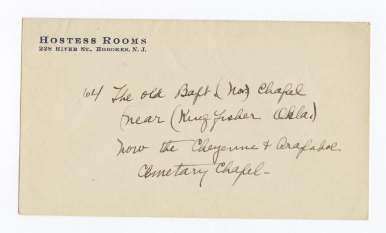 Envelope for Photo (1275) and Negative (1276) of Baptist Chapel near Kingfisher, Oklahoma