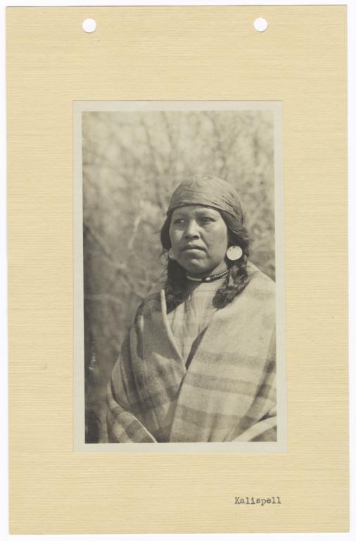 Portrait of a Kalispel Indian Woman Wearing a Blanket, Jewelry, and a Headwrap, Idaho