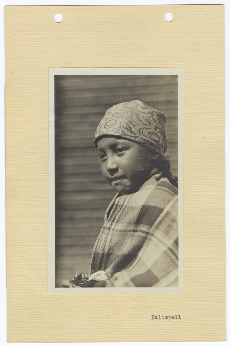 Portrait of Kalispel Indian Child Wearing a Headwrap, Idaho