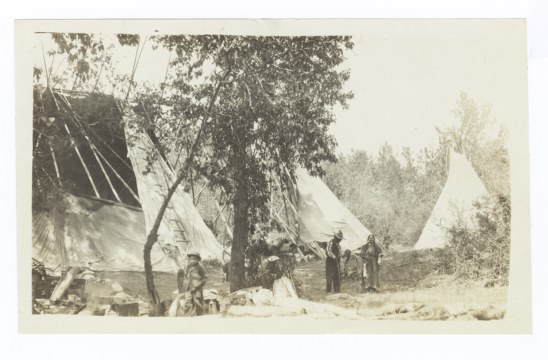 Semi-Covered Tipis with Kalispel Indian Adults and Children, Idaho