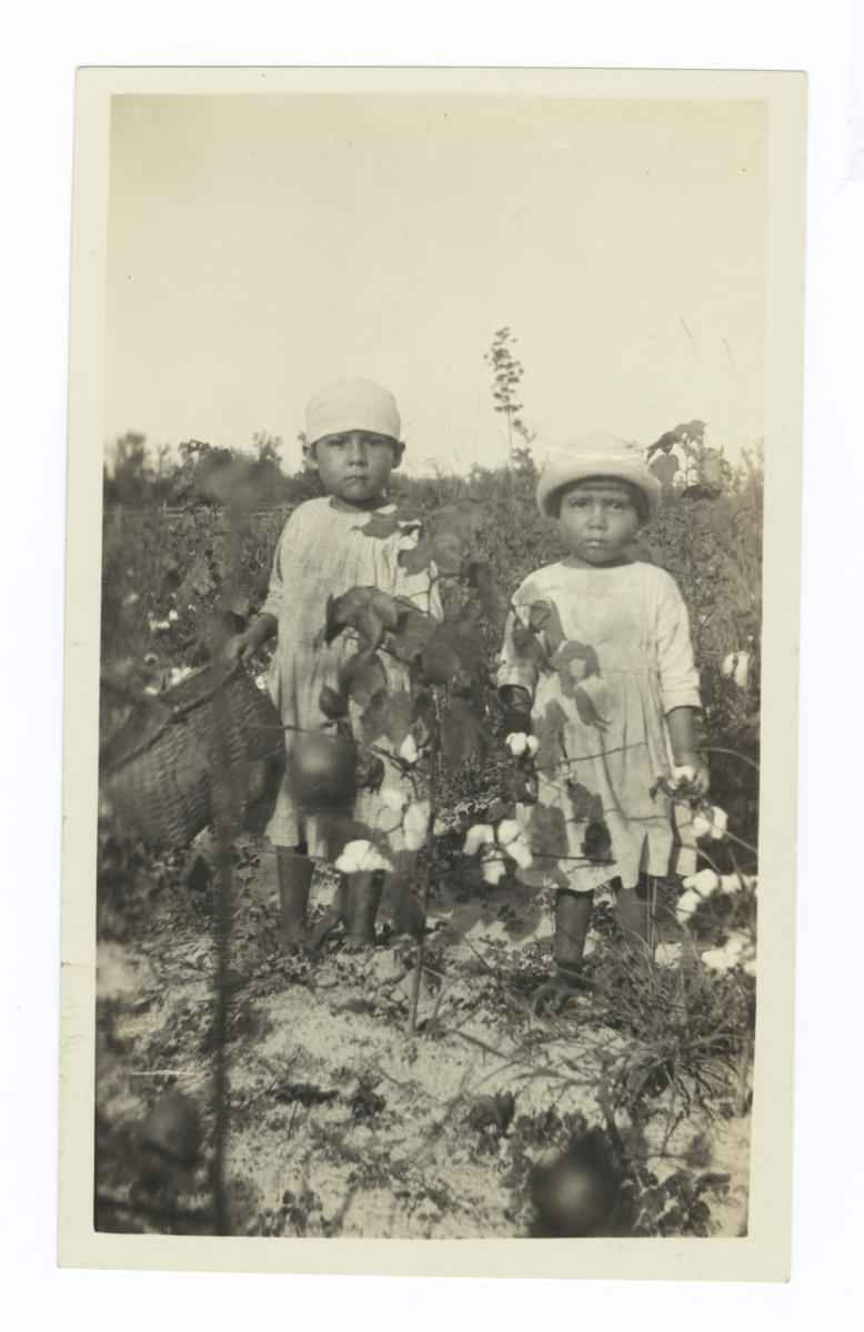 Very Small American Indian Boy and Girl in a Cotton Field