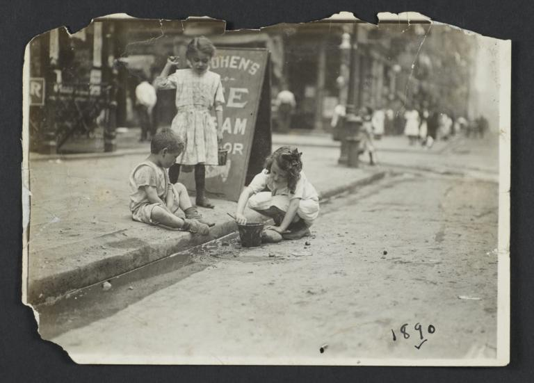 Children Playing in Gutter