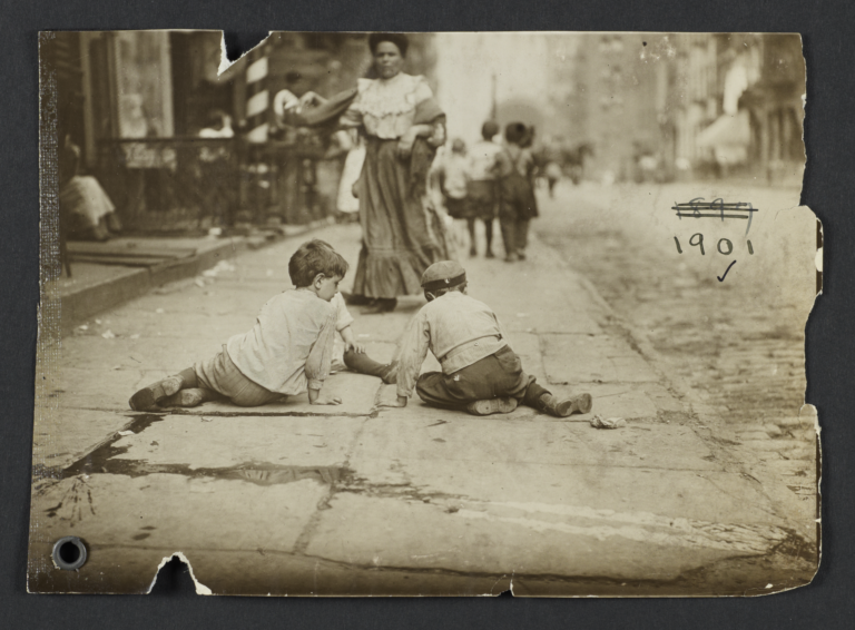 Children on Pavement, Backs to Camera