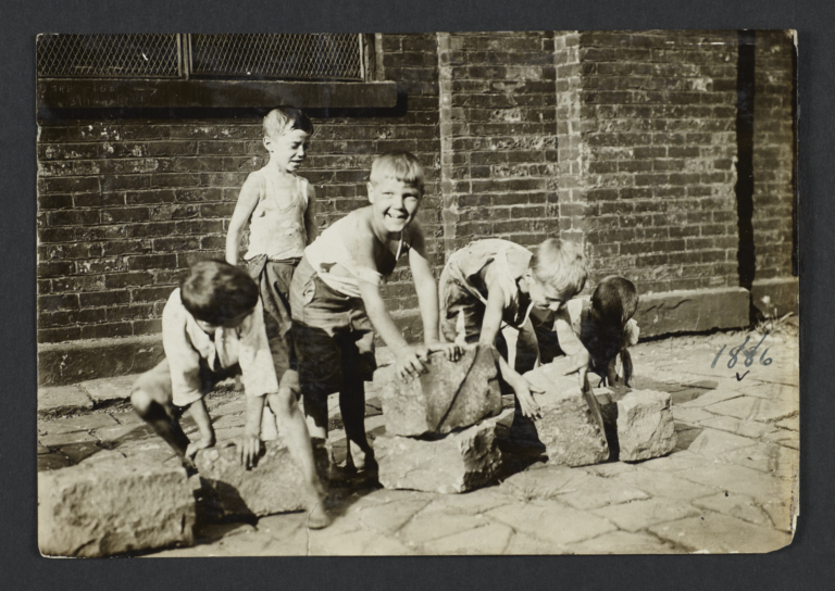 Five Boys with Paving Stones