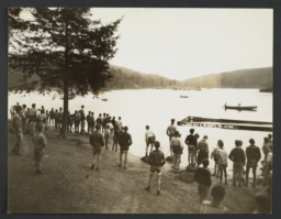 Boys Canoeing with Spectators Watching