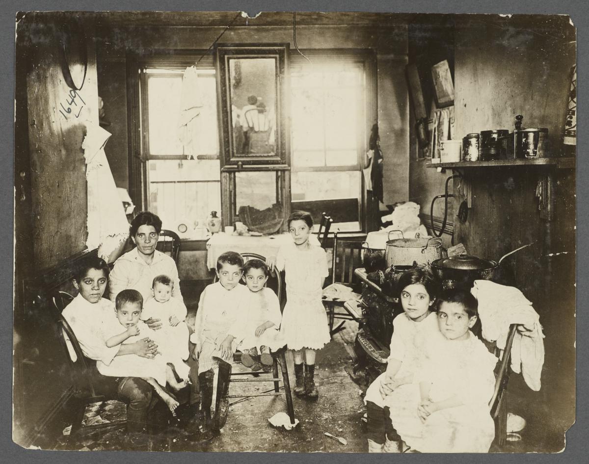 Mother with Eight Children in Tenement Kitchen