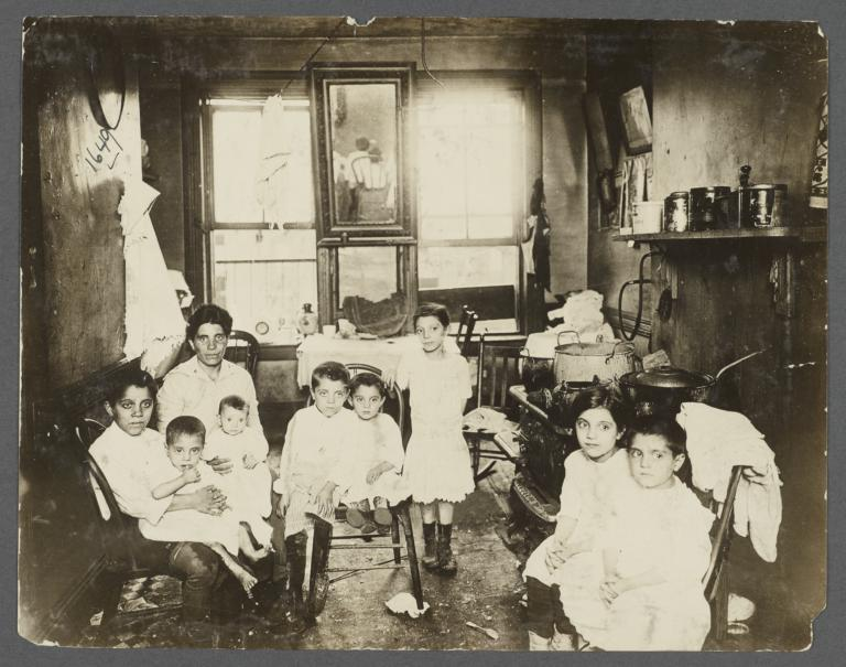 Mother with Eight Children in Tenement Kitchen