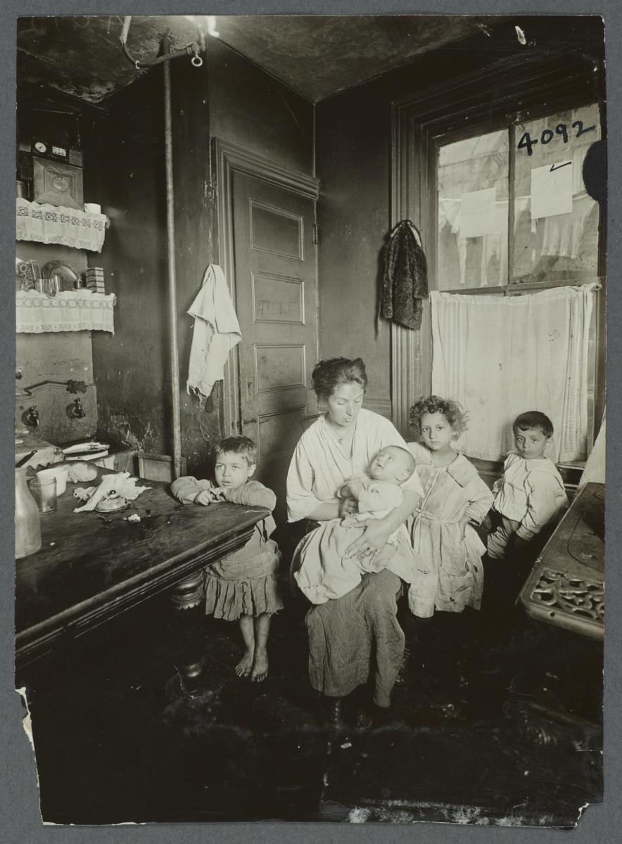 Mother and Four Children in Kitchen