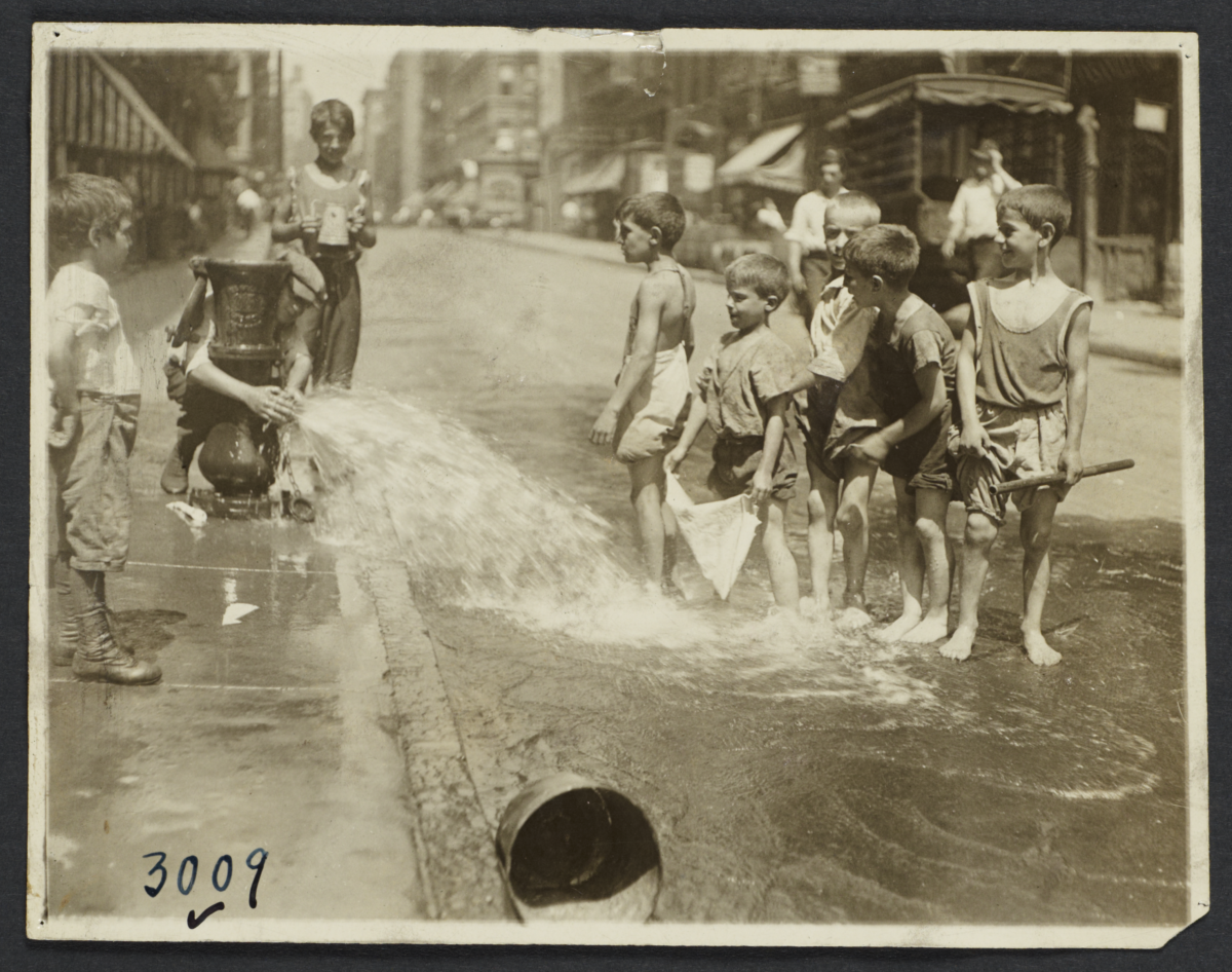 Boys Playing in Open Fire Hydrants, Lower East Side