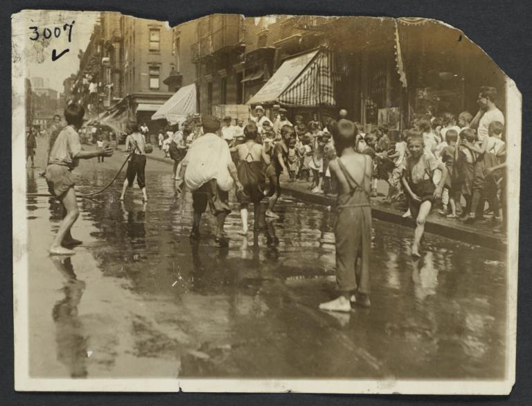 Boys Playing in Open Fire Hydrants, Lower East Side