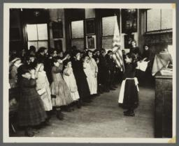 Saluting the Flag in Mott Street Industrial School