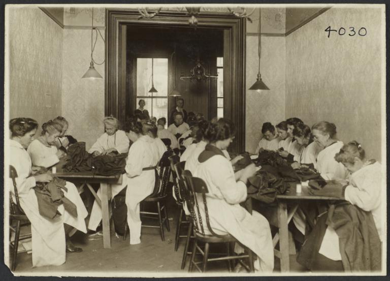 Women's Work Room Album -- Women Sewing in Work Room