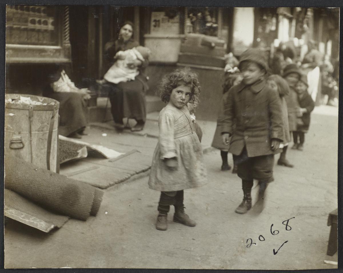 Little Girl with Children on Sidewalk