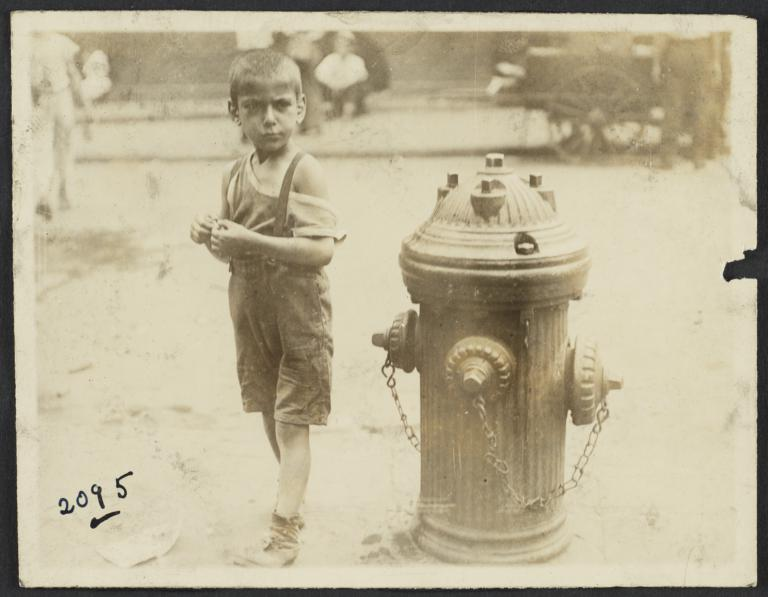 Boy near Fire Hydrant