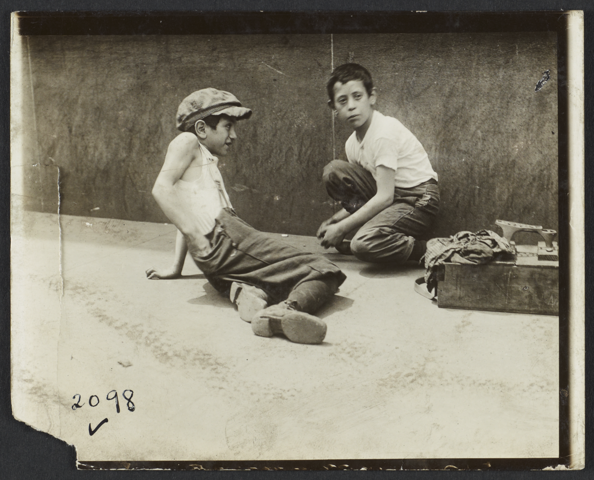 Two Boys with Shoeshine Box