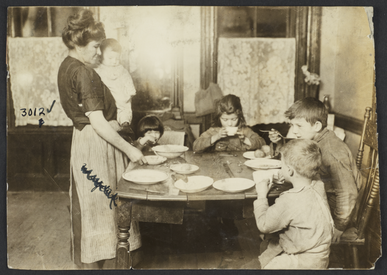 Mother and Children Around Table