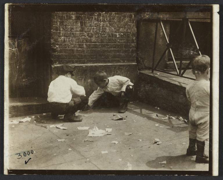 Three Children on Sidewalk