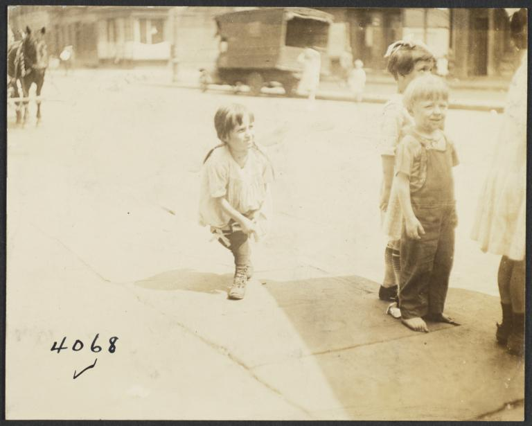 Children on Sidewalk, Horse in Background
