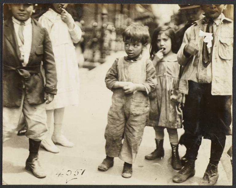 Six Children on Sidewalk