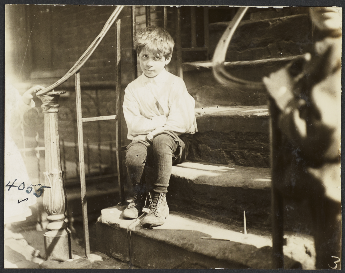 Boy on Stoop with Shoe Untied