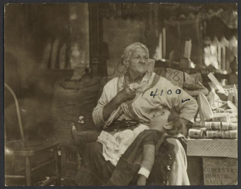 Old Woman with Sleeping Child