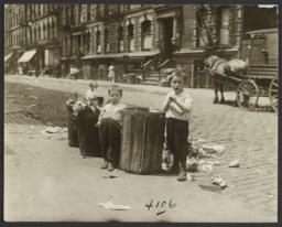 Boys near Trash Cans