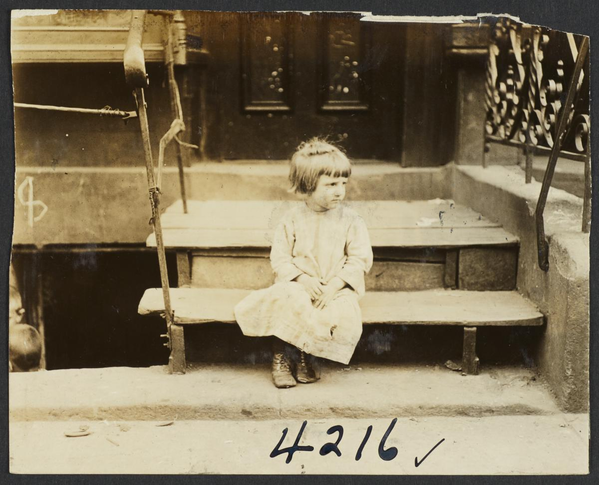 Girl on Wooden Step