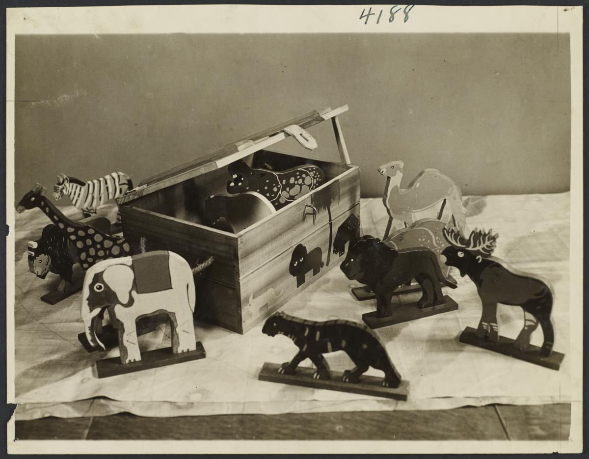 Old Mens Toy Shop Album -- Wild and Tame Animal Chests for the Kiddies