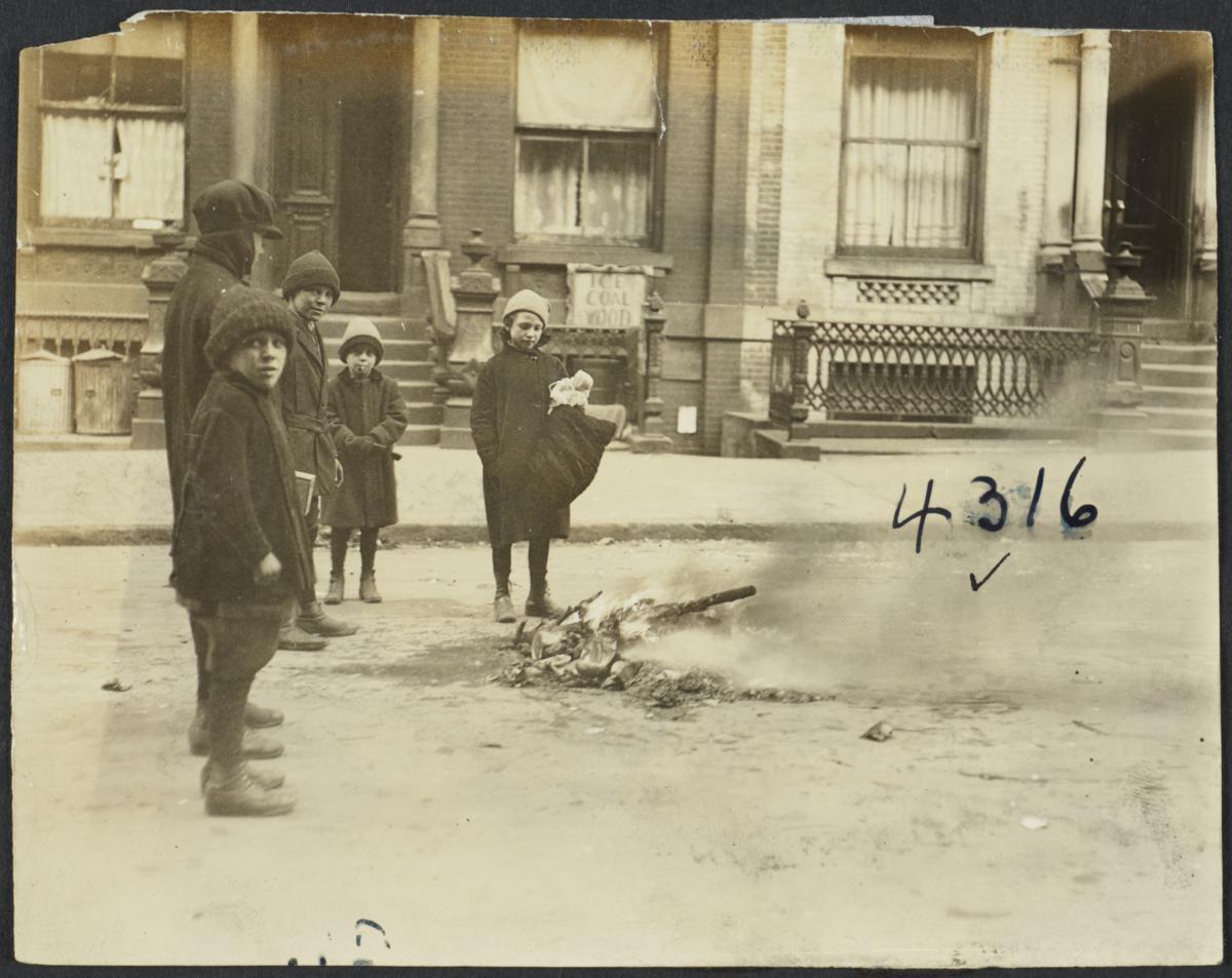 Children Outside Around Fire