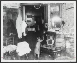Two Children in Room with Mirror