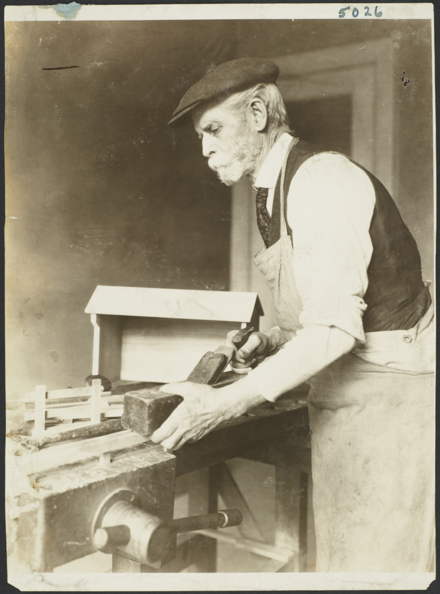 Old Men's Toy Shop Album -- Old Man Doing Wood Work