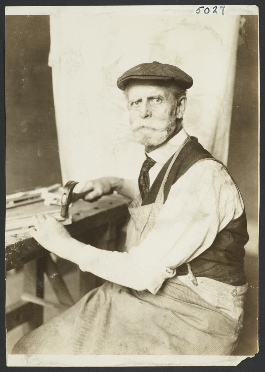 Old Men's Toy Shop Album -- Old Man Working with Hammer